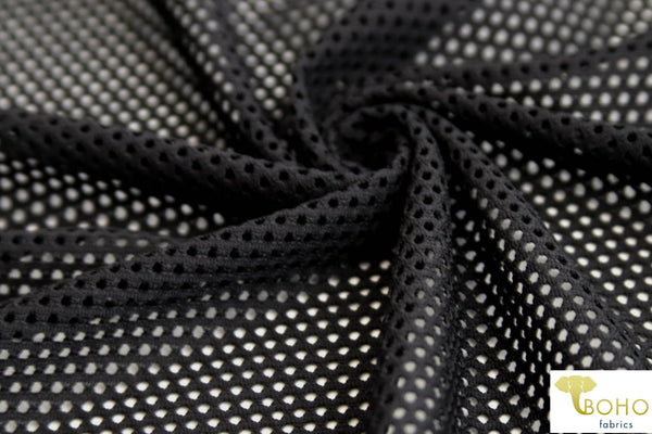 Athletic Mesh in Black. Nylon/Poly/Spandex Blend. Use for Activewear and Yoga!