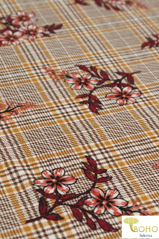Mustard Tartan Plaid Florals.. Ponte Di Roma Double Knit Fabric. Poly/Rayon/Spandex Blend. PP-101-4