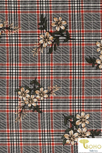 Red Tartan Plaid Florals.. Ponte Di Roma Double Knit Fabric. Poly/Rayon/Spandex Blend. PP-101-2