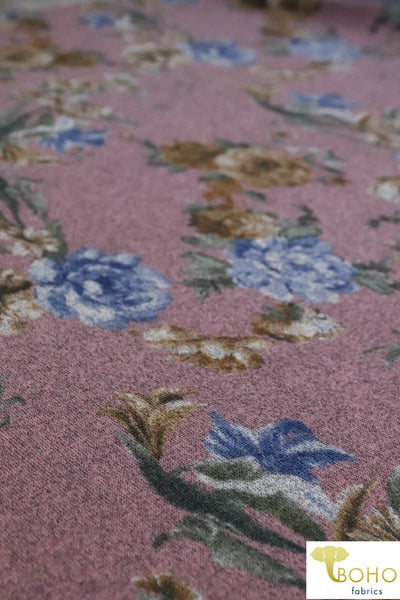 Botanical Forest in Mustard/Blue on Mauve. Hacci Sweater Knit Fabric. SWTRP-105-M