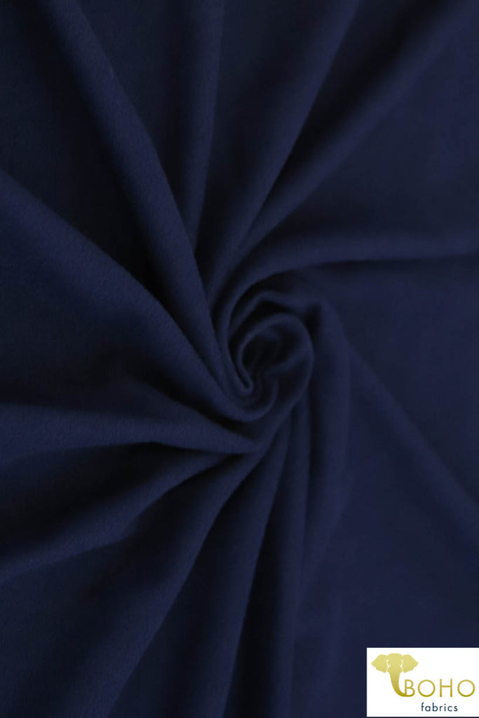 Navy Double Brushed Poly Knit Fabric