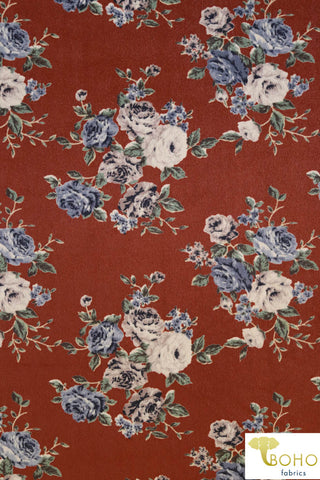 Alexis. Rose Bouquet on Rust Stretch Velvet SVP-102