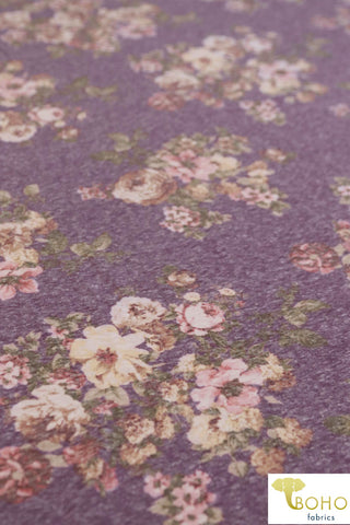 Orchid Bouquet on Heather Purple. Tri-Blend Jersey Knit. JER-P-104.
