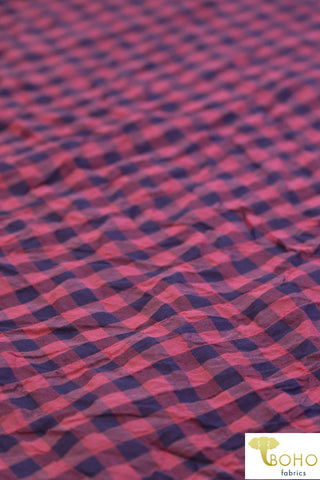 Raspberry/Dusty Purple Gingham. Cotton Blend Woven Fabric. WV-102-2
