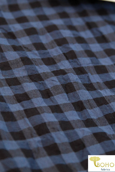 Navy and Black Gingham. Cotton Blend Woven Fabric. WV-102-1