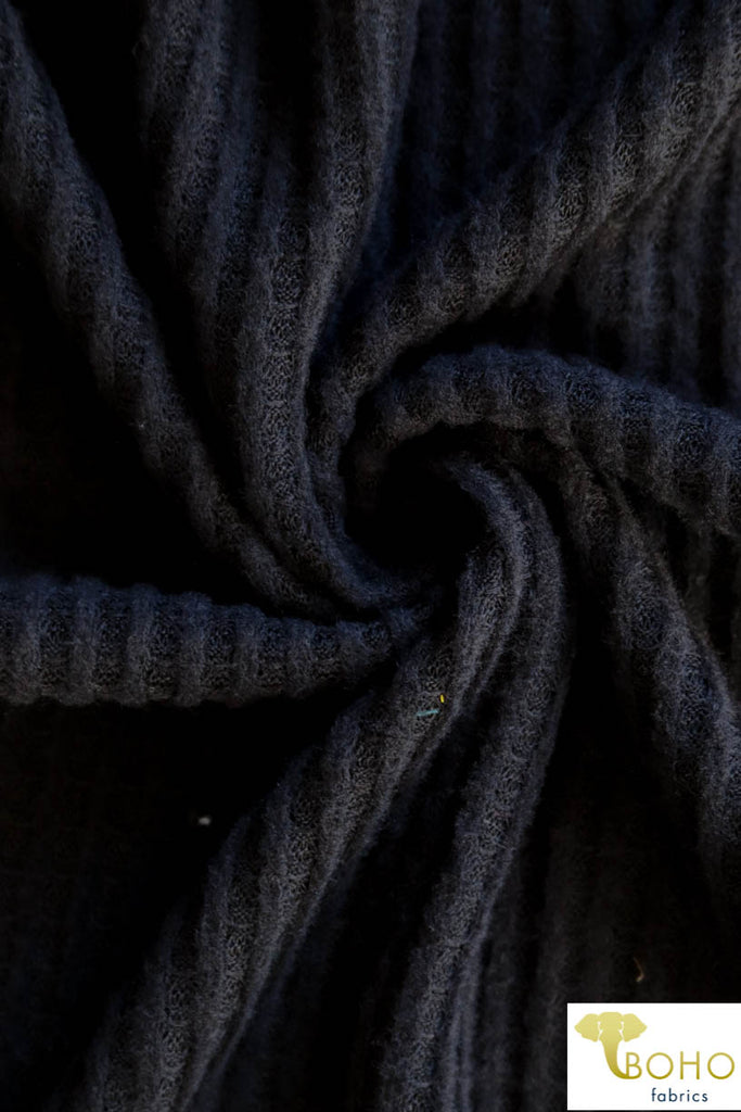 Black Brushed Waffle Knit Fabric. Plush. BWAF-102