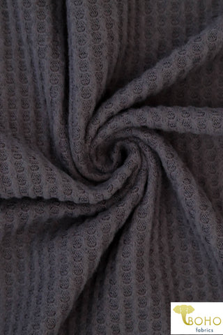Gray Brushed Waffle Knit Fabric. BWAF-103