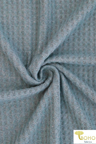 Dusty Blue Brushed Waffle Knit Fabric. BWAF-104