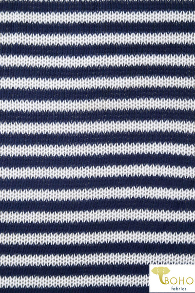 Knitted Stripes Navy and White Sweater. SWTR-109