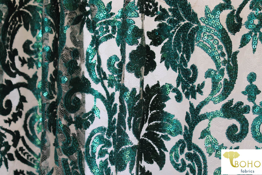 Special Occasion: Emerald Green Elegant Damask Sequined & Beaded Mesh.  SO-103-GRN