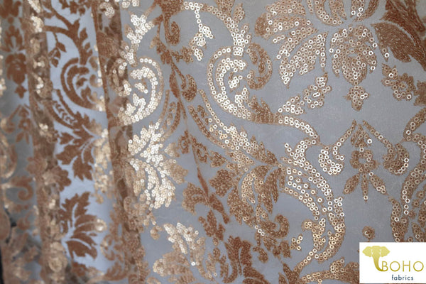 Special Occasion: Gold Elegant Damask Sequined & Beaded Mesh.  SO-103-GOL