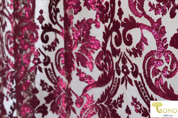 Special Occasion: Burgundy Red Elegant Damask Sequined & Beaded Mesh.  SO-103-RED