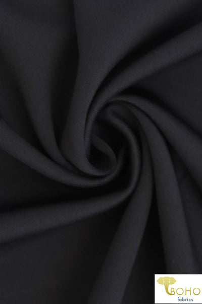 Black Solid Scuba Knit Fabric. SCU-102.