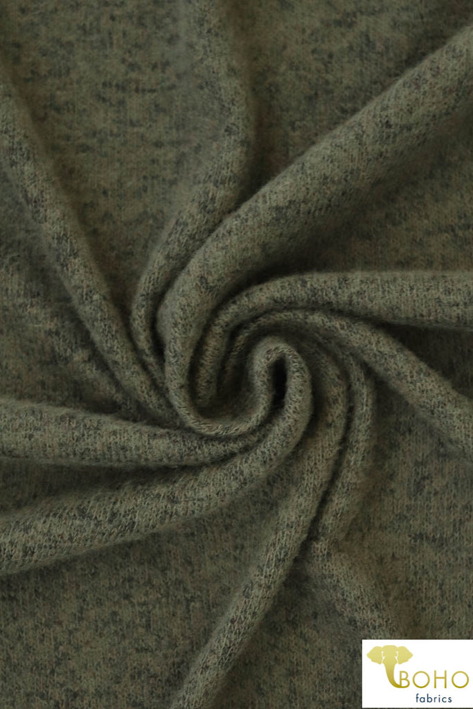 Heathered Olive Green.  Brushed Tri Blend Sweater Knit. SWTR-122