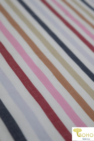 Multicolor Cool Stripes on White. Cotton Woven Fabric. W-101-WHT