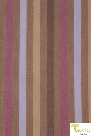 Multicolor Warm Stripes on Tan. Cotton Woven Fabric. WV-103-BRW