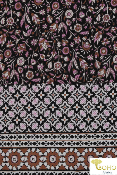 Purple Floral Folk Vines Panel.  With Lilac, Black & Rust. Cotton Woven Fabric. WV-130