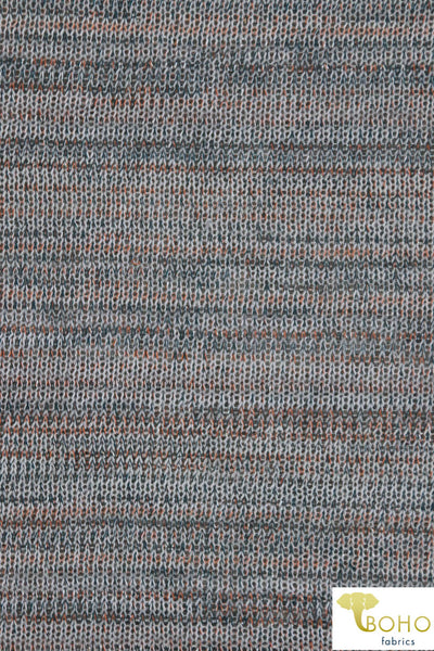 """Metallic Autumn"" Navy and Orange Stripes on Gray Loose Weave Sweater Knit. SWTR-116-GRY"