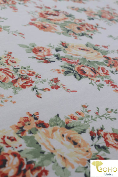 Harvest Florals on Ivory.  French Terry Knit Print. FT-112-WHT