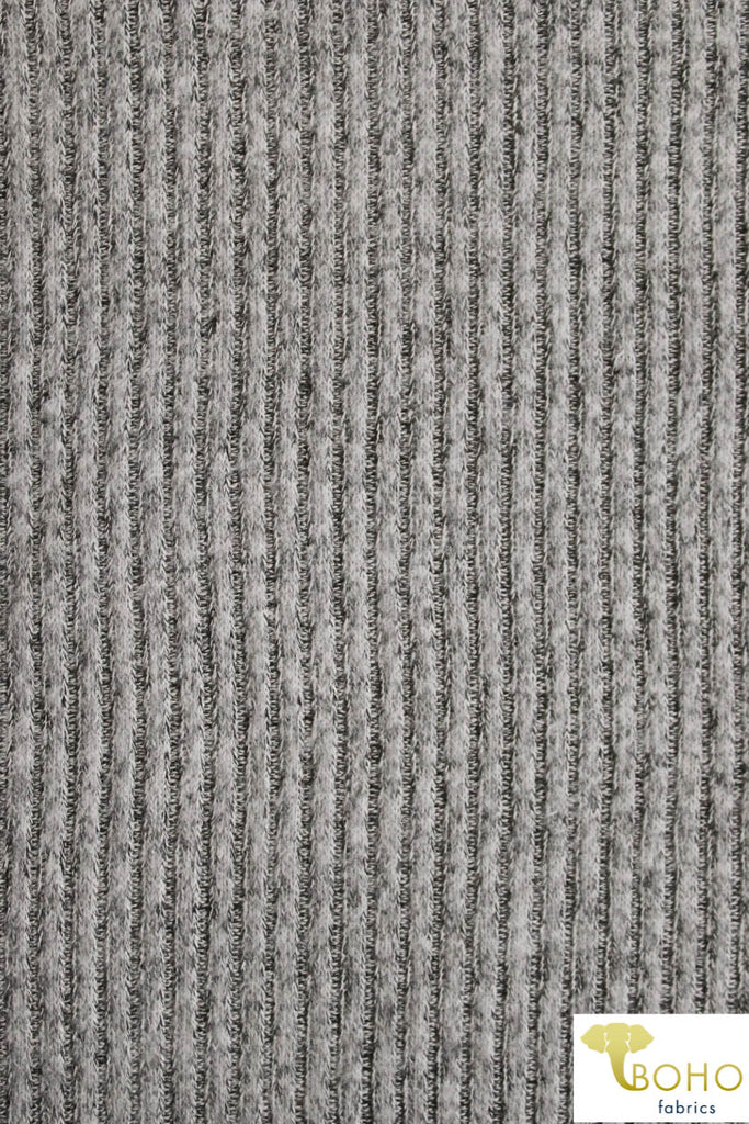 Marble Light Gray. Brushed Ribbed Sweater Knit. RSWTR-117-GRY