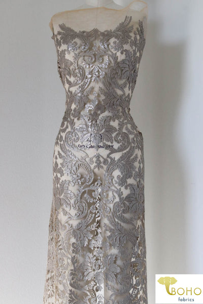 Special Occasion: Silver Gray Elegant Damask Sequined & Beaded Mesh.  SO-103-SVR