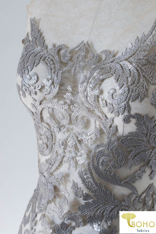 1 Yard Last Cut! Special Occasion: Silver Gray Elegant Damask Sequined & Beaded Mesh.  SO-103-SVR