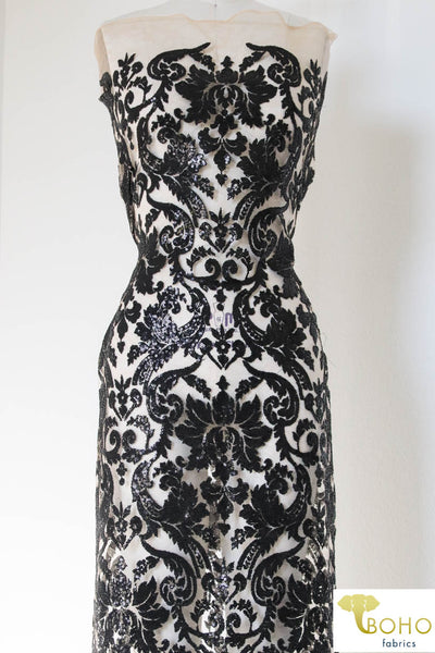 Special Occasion: Black Elegant Damask Sequined & Beaded Mesh.  SO-103-BLK