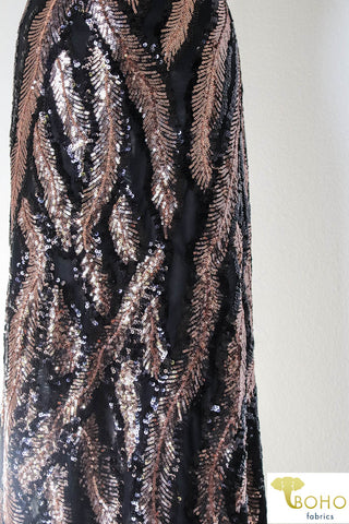 Special Occasion: Copper Feathers Sequined Stretch Mesh.  SO-101