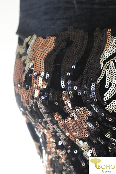 Special Occasion: Velvet Volcano. Gold, Copper and Black Sequined Stretch Velvet.  SO-105