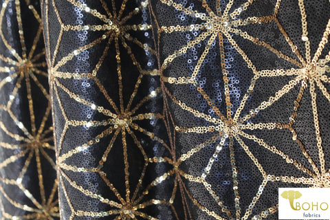 Special Occasion: Black Disco Deco, Black & Gold with Stretch.  SO-104-B
