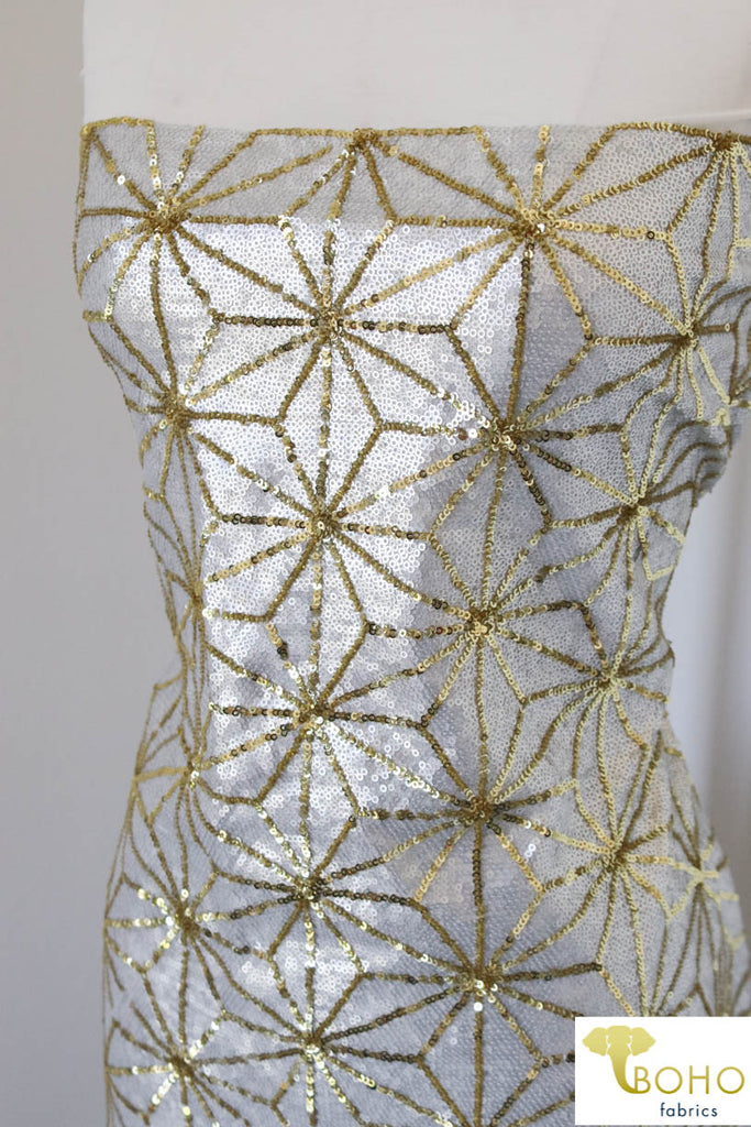 Special Occasion: White Disco Deco, White & Gold with Stretch.  SO-104-W