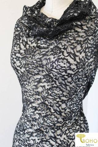 Silver Leaves on Black. Woven Lace. W-109