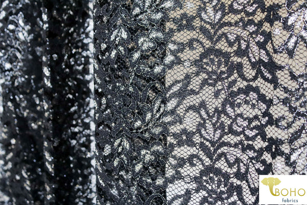 Silver Leaves on Black. Woven Lace. WV-129