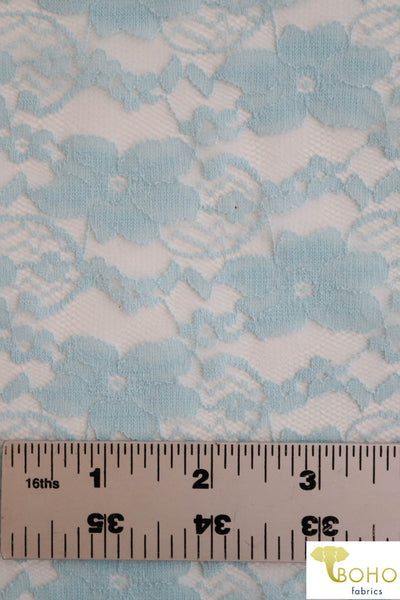 """Chain Flowers"" in Light Blue. Stretch Lace. SL-109-BLU."