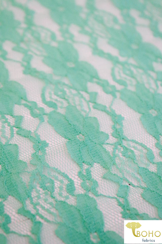 """Chain Flowers"" in Icy Mint. Stretch Lace. SL-109-MNT."