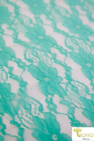 """Chain Flowers"" in Aqua. Stretch Lace. SL-109-AQA."
