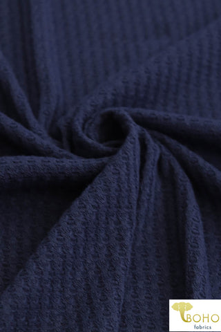 Deep Navy Blue. Waffle Sweater Knit. WAFF-120.
