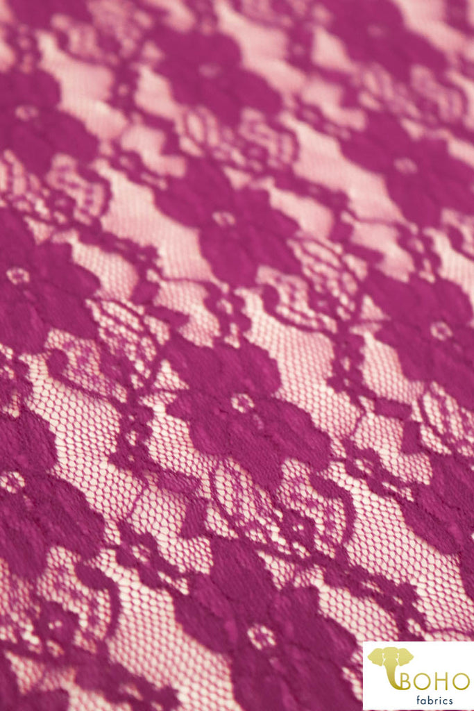"""Chain Flowers"" in Magenta. Stretch Lace. SL-109-MGNT."