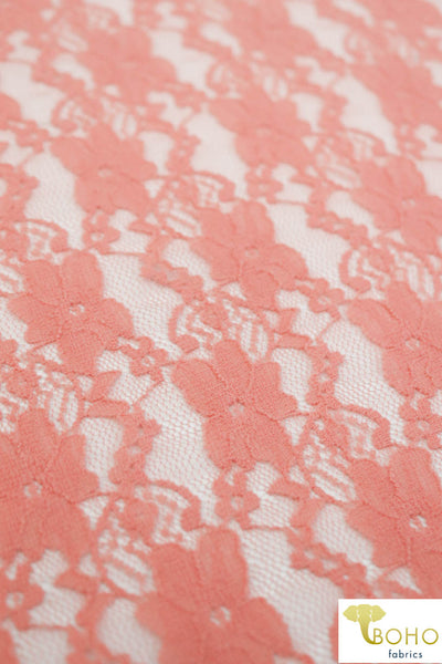 """Chain Flowers"" in Peach. Stretch Lace. SL-109-PCH."