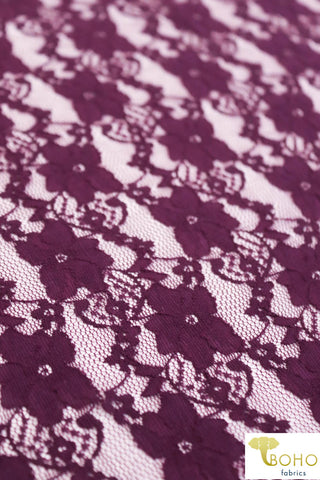 """Chain Flowers"" in Plum Purple. Stretch Lace. SL-109-PURP."