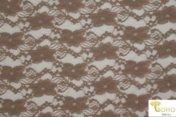 """Chain Flowers"" in Brown. Stretch Lace. SL-109-BRWN."