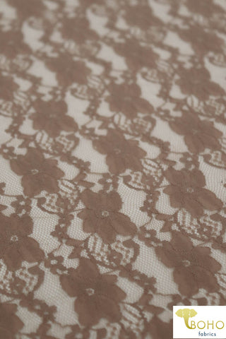 """Chain Flowers"" in Taupe Brown. Stretch Lace. SL-109-BRWN."