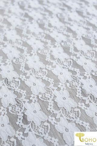 """Chain Flowers"" in White. Stretch Lace. SL-109-WHT."
