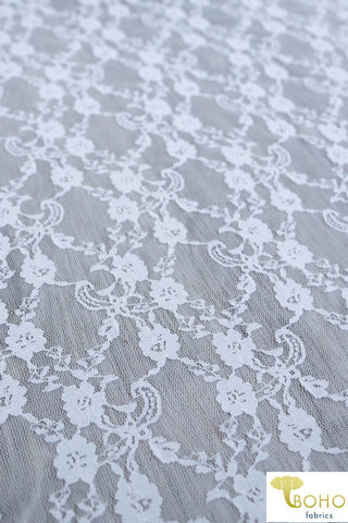 """Diamond Flowers"" in White. Stretch Lace. SL-110-WHT."