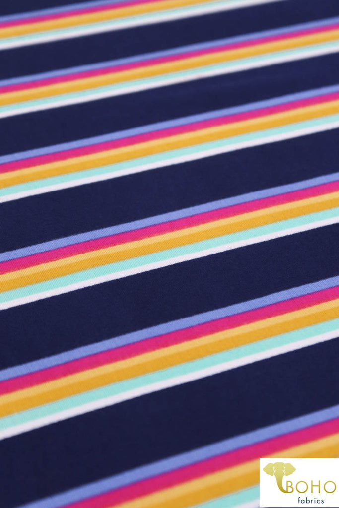 DBP: Playful Rainbow Stripes on Bright Navy. Double Brushed Poly Knit Fabric. BP-110-BLU