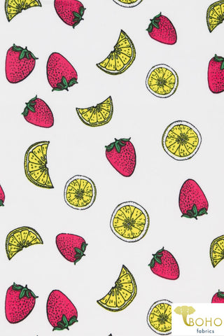 DBP: Strawberry Lemonade on White. Double Brushed Poly Knit Fabric. BP-109-WHT