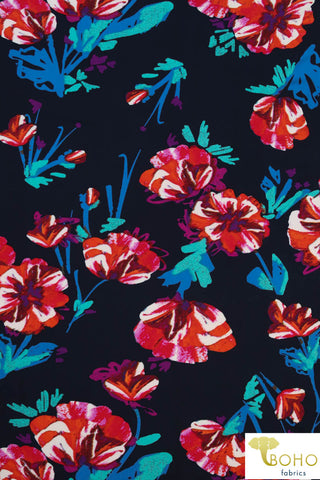 DBP: Twilight Watercolor Flowers on Navy. Double Brushed Poly Knit Fabric. BP-115-NVY