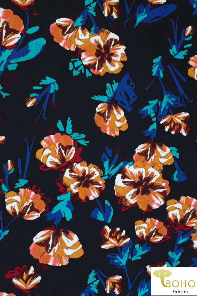DBP: Twilight Watercolor Flowers on Black. Double Brushed Poly Knit Fabric. BP-115-BLK