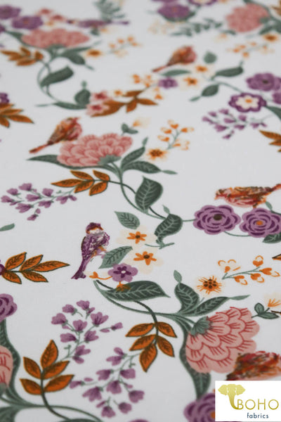 DBP: Sparrows Flower Garden on Ivory. Double Brushed Poly Knit Fabric. BP-114-WHT