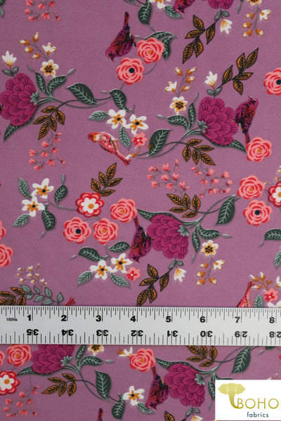 DBP: Sparrows Flower Garden on Mauve Purple. Double Brushed Poly Knit Fabric. BP-114-PURP
